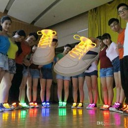night glowing plastic NZ - Brand designer Hot Multicolors Light Up LED Shoelaces New Fashion Boys Girls Flash Shoes Laces Disco Party Glowing Night Shoes Strings