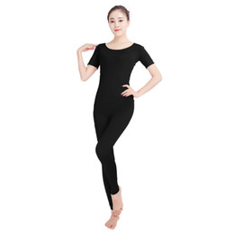 Army Women Costumes NZ - Ensnovo Women Ballet Jumpsuits Short Sleeve Gymnastics Yoga Leotard Unitard Costume Lycra Nylon Spandex Black Dancewear Bodysuit