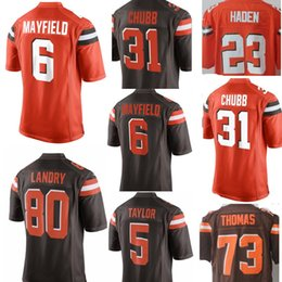 7740ffd7e9f New Cleveland #6 Baker Mayfield 31 Nick Chubb 5 Tyrod Taylor 80 Jarvis  Landry Jersey Men's 23 Joe Haden 79 Joe Thomas Browns Jerseys