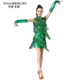 cd20a8f494890 Sequin Fringed Latin Dance Clothes Women Latin Dance Stage Performance  Competition Dress Salsa Costume With Glove Necklace