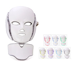 Wholesale 7 Color LED Facial And Neck Mask Microcurrent PDT LED Photon Face Mask Wrinkle Removal Skin Rejuvenation For Face and Neck Beauty