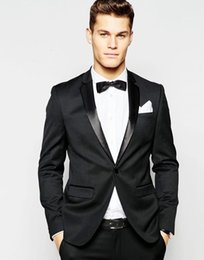 Discount men wedding beautiful suits - Custom Made Black Groom Tuxedos Beautiful Men Formal Suits Business Men Wear Wedding Prom Dinner Suits (Jacket+Pants+Tie