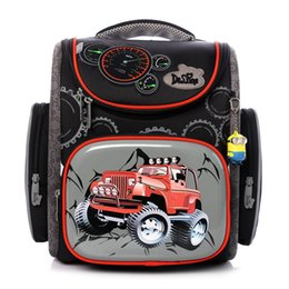 Boys School Cars Bags Canada - Delune Primary Cartoon School bag Famous Brand Kids Unfold School Backpack Boys Cars New Models Waterproof Orthopedic Bag