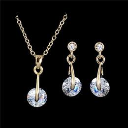 Wholesale Pendant Sets NZ - whole saleAtreus Hot Sale 1Set Gold Color Fantastic Australia Crystal Attractive Earring Pendant Necklace Jewelry Set Gift
