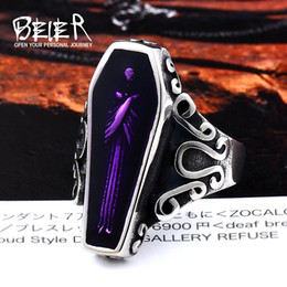 Punk Rings Australia - BEIER Undertaker Skull Gothic Antique Vampire Ring Stainless Steel With Purple colour Movie Punk Rock Jewelry For Man BR8-501