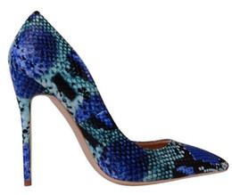 Navy Blue High Heeled Shoes Canada - Fashion women Blue python snakes point toe wedding shoes red bottom high heels thin heeled shoes pumps genuine leather size 34-44