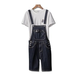 434cd0f2fb wholesale Men Summer Bib Overall Shorts Fashion Short Suspender Pants For  Man Jumpsuits Rompers Plus Size S-5XL Knee Length