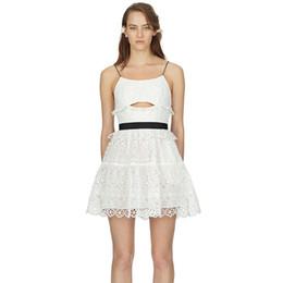 256ee8d4c69 2018 Women Summer Lace Dress Sleeveless Hollow Out Sexy Mini Spaghetti  Strap Dress Self Portrait Backless Crochet Flower