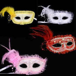 $enCountryForm.capitalKeyWord Australia - 10pcs lot Ball Mask With Feather Beads Adult Half Face Masks Female Dance Cosplay Props For Women and Girls Event Party Wear