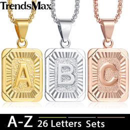 Discount gold letter pendants for men - Trendsmax Initial A-Z Letter Pendant Necklace Rose Gold Silver Capital Letter Charm Pendant For Women Men Jewelry 2018 K