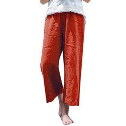 f99d1ef8492 Anself 2018 New Women Cotton Linen Wide Leg Pants Elastic Waist Solid 5XL Summer  Plus Size Pants Casual Loose Trousers Black