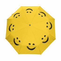 $enCountryForm.capitalKeyWord NZ - New Fashion Fully Automatic Umbrella Women Umbrellas Outdoor Anti-UV Sun And Rain Paraguas Cute Smiling face Yellow Parasol