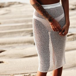 69d84ec68f Sexy Crochet Bikinis Fishnet Pants Women Cover Up Swimwear Hand long  sunscreen dress Bottom Beach Trousers