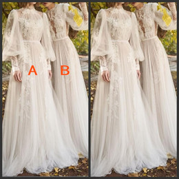 elegant evening dresses sleeves back Canada - Stunning Elegant Lace Prom Dresses High Neck Poet Long Sleeves Sweep Train Bridal Gowns Lace Appliques Zipper Back Formal Evening Dresses