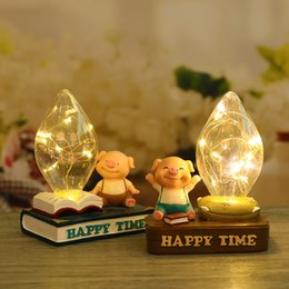 Gift Craft Christmas Ornament Australia - Japanese-style groceries home bedside resin crafts ornaments couple table lamp gift cartoon cute pig night light