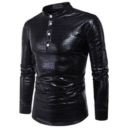 Male Clothing Styles Canada - Snakeskin Shirt Men Pullover Shirts Novelty Blouse Male England Style New Arrival Big Size Loose Blusa Long Sleeve Party Clothes