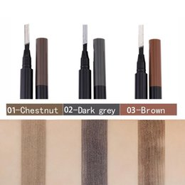 Discount tattoo pen waterproof Miss rose Eyebrow Pencil Waterproof Fork tip Eyebrow Tattoo Pen 4 Head Fine Sketch Liquid Eyebrow Enhancer Dye Tint Pen