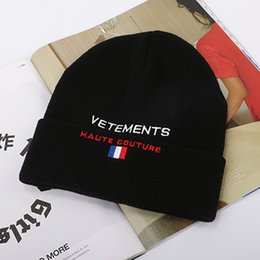 Red beanie foR women online shopping - Vetements Haute Couture beanies embroidery winter hats for women men bonnet hip hop boys girls ladies caps cashmere skull harajuku punk