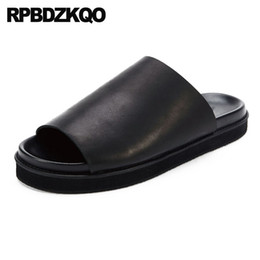 867ee0605a7 Genuine Leather Summer Sandals Designer Shoes Men High Quality Slippers  Platform Outdoor Black Japanese Famous Brand Slides