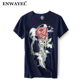 Modal Tees Australia - ENWAYEL 2018 Summer Rose Print T Shirt Men Casual Fashion Modal O-Neck Short Sleeves Tshirt Male Tees Brand Clothing TX515