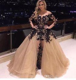 $enCountryForm.capitalKeyWord NZ - Champagne Long Sleeve Evening Dresses Gorgeous Detachable Train Black Lace Applique Sexy Fashion Mermaid Celebrity Red Carpet Evening Gowns