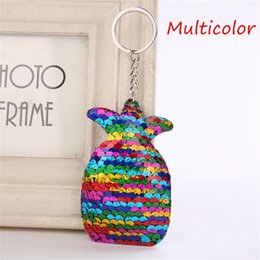 Coin Scale NZ - 15*7cm Cute Fruit Pendant Keychain Bling Mermaid Fish Scales Sequins Pineapple Keyring for Women Bag Key Chains Summer Jewelry 20pcs