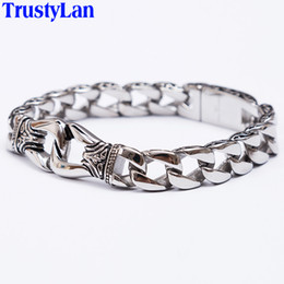 $enCountryForm.capitalKeyWord NZ - TrustyLan Fashion New Stainless Steel Charm Bracelet Men Vintage Totem Mens Bracelets 2018 Cool Male Jewelry Wristband Jewellery