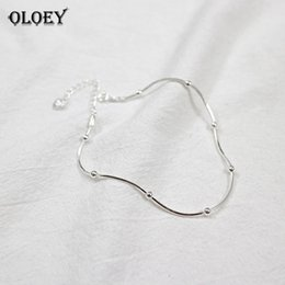 $enCountryForm.capitalKeyWord Australia - OLOEY Real 925 Sterling Silver Anklet For Women Simple Snake Chain Beaded Ankle Bracelet Fine Jewelry Gifts Drop Shipping YMA001 C18110801