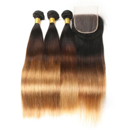 Chinese  Ombre Peruvian Human Hair Bundles With Closure Three Tone 1B 4 27 Straight Hair Weave 3 Bundles With Lace Closure 4*4 manufacturers