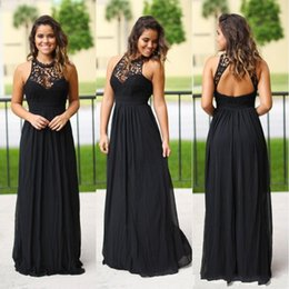 Cheap halter long dresses online shopping - Sexy Long Black Chiffon Bridesmaids Dresses Halter Neck Cheap Lace Country Bridesmaid Dress Wedding Party Gowns