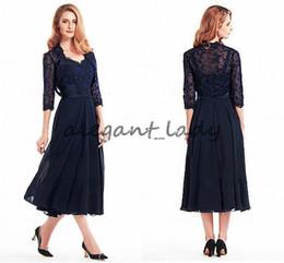 Wholesale lace dress chiffon coat resale online – Stunning navy blue Chiffon Lace V neck Neckline Tea length Mother Of The Bride groom Dresses With Detachable lace Coat