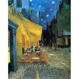 Painted Canvas Cafe Art NZ - Cafe Terrace By Van Gogh Handpainted & HD Print Landscape Art Oil Painting On High Quality Canvas Wall Art Home Decor Multi Size l59