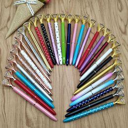 $enCountryForm.capitalKeyWord Australia - Ballpoint Pen Big Gem Metal Ball Pen With Big Diamond Black Ink Pen Fashion School Office Supplies