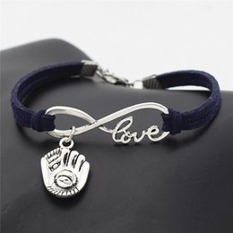 $enCountryForm.capitalKeyWord NZ - Hot Women Infinity Love 3D Baseball Glove hand made DIY Bracelet Artware Retro Dark Navy Leather bangles for Men girl gift Jewelry wholesale
