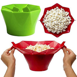 silicone microwave bowl UK - Baby Feeding Baking bowls Silicone Microwave Popcorn Maker Popcorn Popper Homemade Delicious Popcorn Bowl Baking Tools