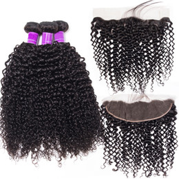 $enCountryForm.capitalKeyWord NZ - 3 Bundles With Lace Frontal 4pcs lot Mink Brazilian Deep Curly Hair Bundles With Frontal Jet Natural Black Color Virgin Deep Curly Hair