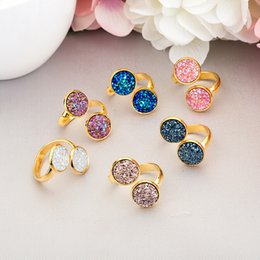 crazy rings 2019 - CRAZY FLY New Gold Colorful Natural Druse Wedding Ring For Women Adjustable Finger Ring For Girl Statement Jewelry cheap