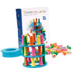 Children eduCation games online shopping - Children Early Childhood Intelligence Wooden Building Block Toy Tower Collapse Suck Stick Board Learning Education Funny Game dk W