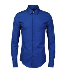 long sleeved chinese collared shirts UK - 2018 New style Chinese Style Men's long sleeved blouse hair stylist hairstylist fashion casual simple blue shirt