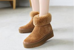 Women leather boot rabbit online shopping - Leather plus velvet thick bottom increased rabbit hair short tube snow boots fur short boots women new cotton shoes