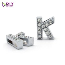 "Slide Belts Fit Canada - 20PCS ""K-T"" Full Rhinestone Silver 8MM Slide Letters  Charms Fit 8MM DIY Wristbnad   Bracelet Belt LSSL01-K-T*20"