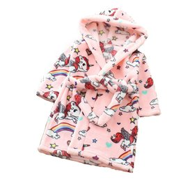 3PCS Lot 13 types kids robes Unicorn winter fleece bathrobe for children  Unisex Flannel Hooded Bathing suit girls sleepwear kids clothing f77a7827b