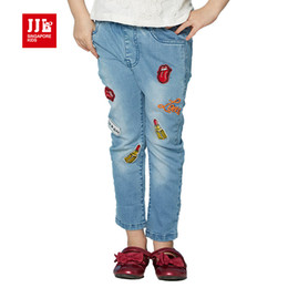 autumn lipstick NZ - jjlkids 2017 spring girls jeans light blue fashion lipsticks embroidery children trousers skinny patchwork brand kids pants