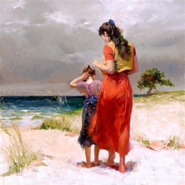 "hand painted portraits NZ - "" Pino Daeni Mother daughter at the beach "" Pure Hand-painted Portrait Art Oil Painting On Thick Canvas Wall Decoration Multi sizes,FP58#"