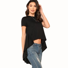 09eef7adc3b Lady S-XL midriff-baring asymmetrical hem base T shirt woman crew neck  short sleeve prue black crop top