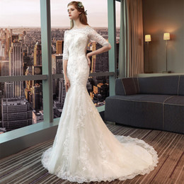 Кружева Русалка свадебные платья с аппликациями 2019 Бато шеи тонкий свадебные платья Половина рукава платье невесты