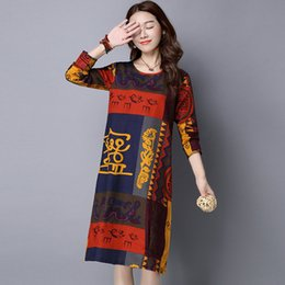 Female Dresses NZ - Casual Vintage Print Dress Women 2019 New Arrival Women Dresses Fall Cotton Linen Dress Female Ethnic Trend Vestidos Mujer
