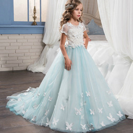 Birthday Party T Shirts Australia - Pageant Shor Sleeve Kids Gown Lace Bows Flower Girl Dresses For Wedding Girl's Floor Length Child Party Birthday Dress