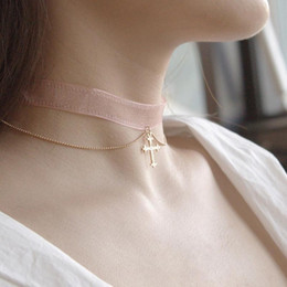 Discount wrap choker - 2018 New Necklace Elegant Sexy Pink Lace Choker Tie Cross Gothic Choker Double Chain Wrap Chokers Necklace Jewelry for W