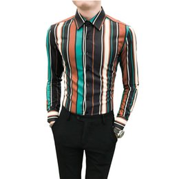 Korean Hair Casual UK - Striped Shirt Men's Long Sleeve Slim Hair Stylist Casual Korean Edition Handsome Autumn 2018 Personality Night Field Trend Shirt